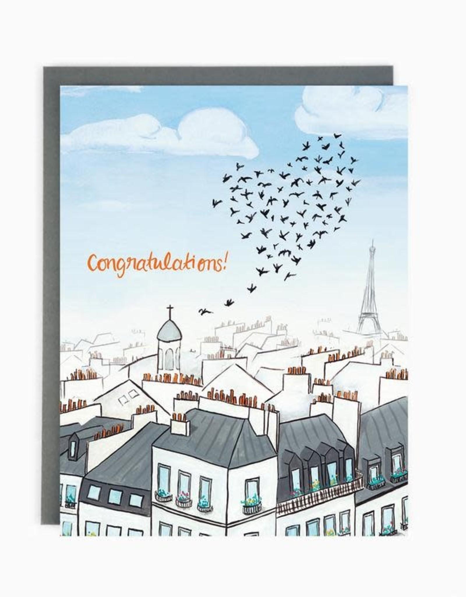 Wedding Paris Rooftops Greeting Card