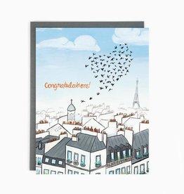 Made in Brockton Village Wedding Paris Rooftops Greeting Card