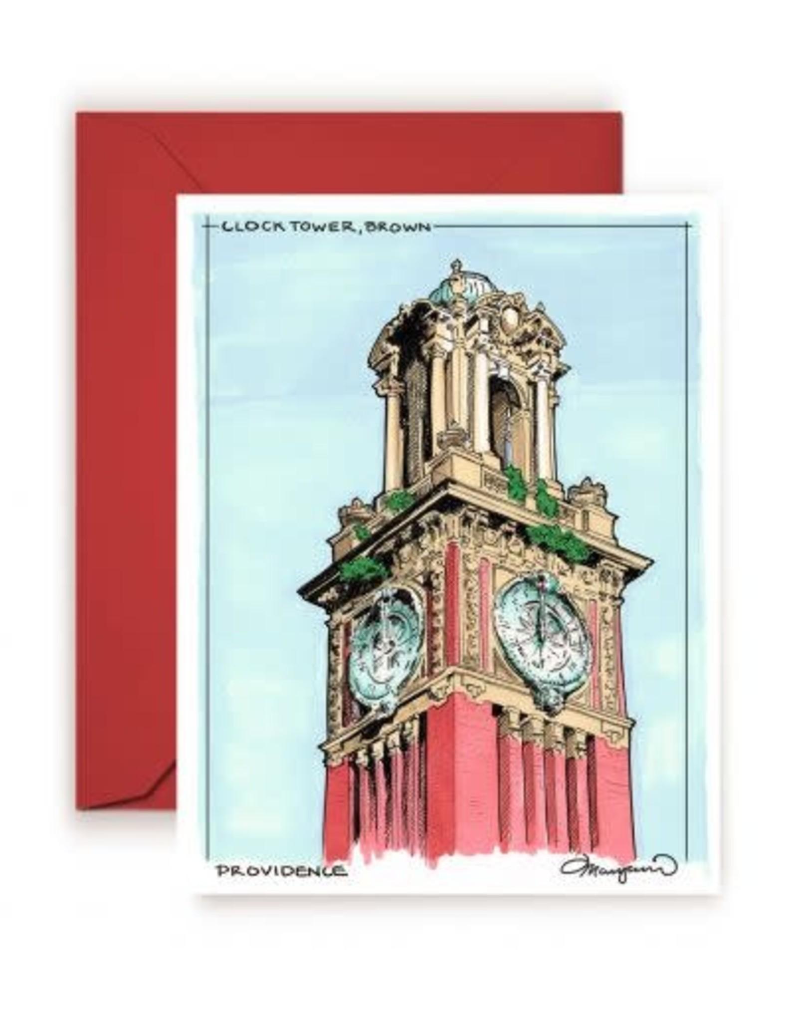 Brown Clock Tower Greeting Card