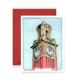 Brown Clock Tower Greeting Card