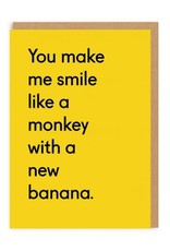 Ohh Deer Monkey With a New Banana Greeting Card