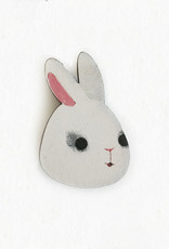 The Little Red House White Hotot Bunny Wooden Pin