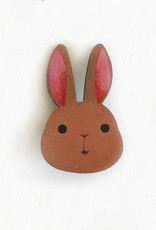 The Little Red House Brown Bunny Wooden Pin
