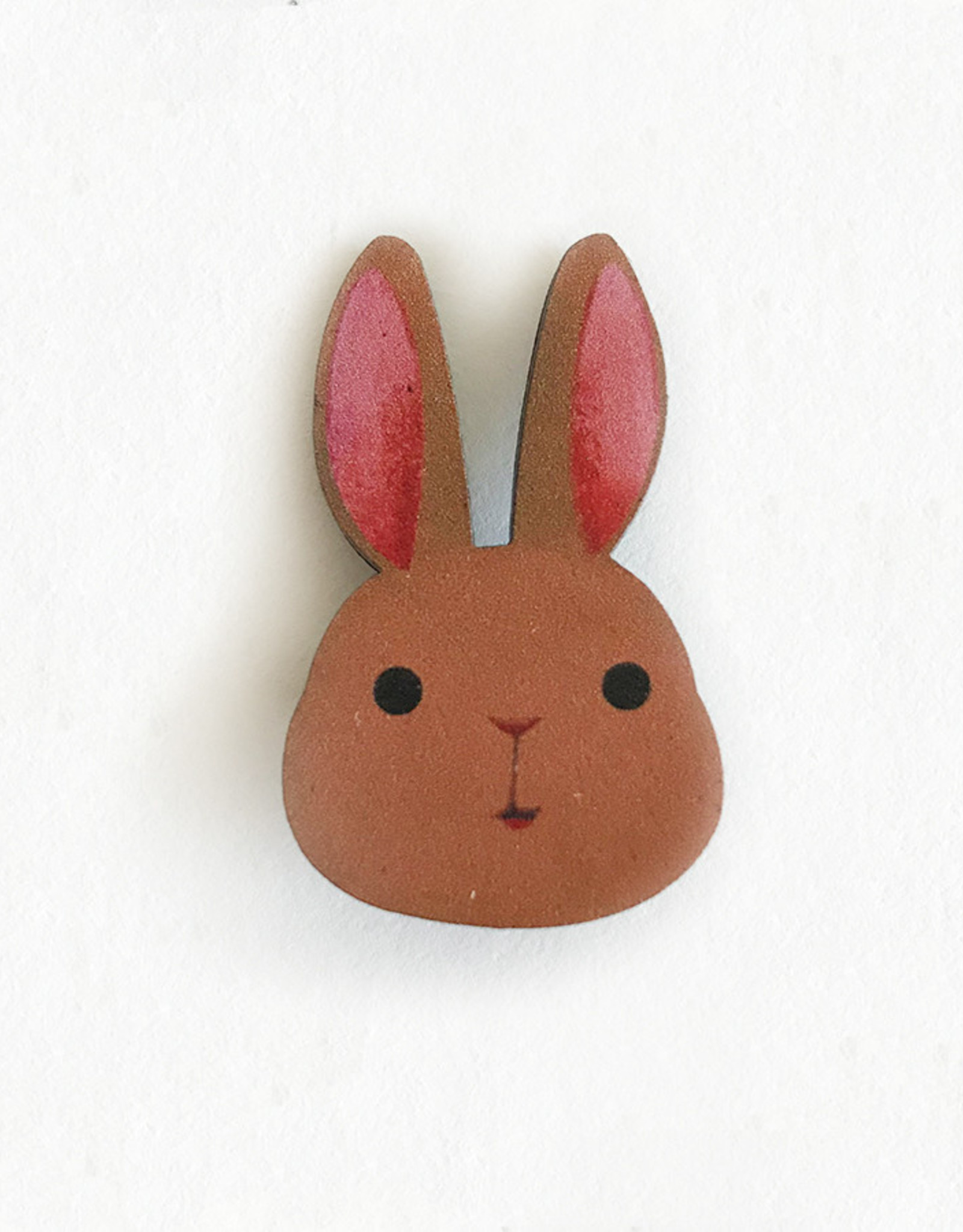 Brown Bunny Wooden Pin