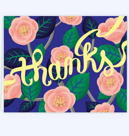 Clap Clap Designs Thanks (Blue with Pink Camelia Flowers) Greeting Card