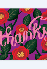 Clap Clap Designs Thanks (Purple with Red Camelia Flowers) Greeting Card