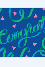 Congrats Blue & Green Ribbons Greeting Card
