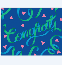 Clap Clap Designs Congrats Blue & Green Ribbons Greeting Card