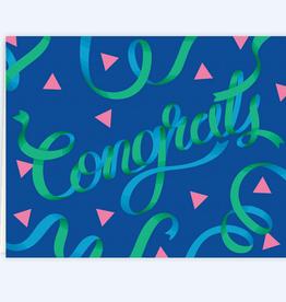 Congrats Blue & Green Ribbons Greeting Card