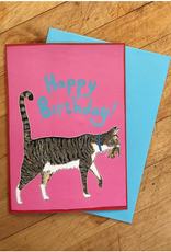 Sunde White Industries Happy Birthday Cat with Lizard Present Greeting Card