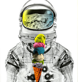 Authorized to Work Press Ice Cream Astronaut Risograph Print