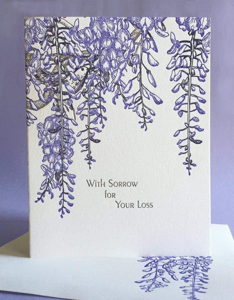 Painted Tongue Studios With Sorrow for Your Loss (Wisteria) Greeting Card