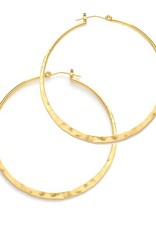 "A Mano Trading Hammered 1.5"" Hoop Earrings"