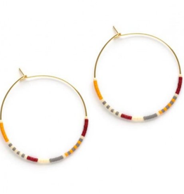 "A Mano Trading Miyuki Bead 1.5"" Hoop Earrings - Saffron"