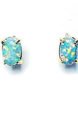 Adorn512 Opal Stud Earrings, Blue