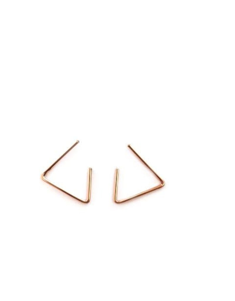 Adorn512 Open Triangle Earrings, Rose Gold