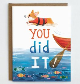 Mudsplash Studios You Did It Corgi Jumping Greeting Card