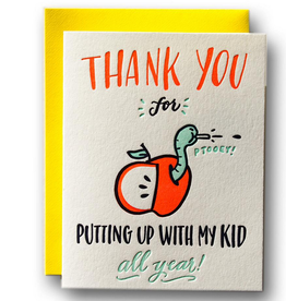 Ladyfingers Letterpress Thank You For Putting Up With My Kid Greeting Card