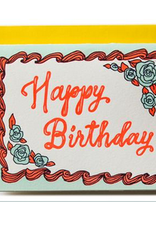 Ladyfingers Letterpress Happy Birthday Cake Greeting Card