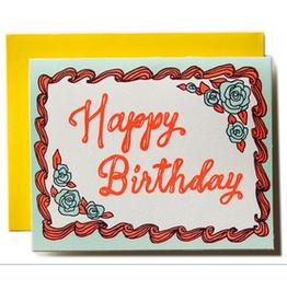 Ladyfingers Letterpress Happy Birthday Cake Greeting Card