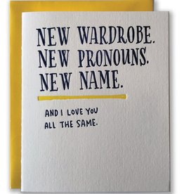 Ladyfingers Letterpress New Wardrobe, Pronouns, Name Greeting Card