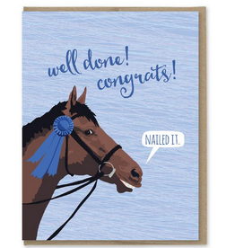 Modern Printed Matter Well Done! Blue Ribbon Horse Greeting Card