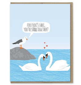 Modern Printed Matter Anniversary Swans Greeting Card