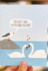 Modern Printed Matter Anniversary Swans Greeting Card