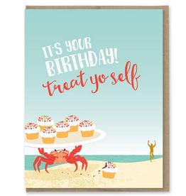 Modern Printed Matter Treat Yoself Birthday Crab Greeting Card