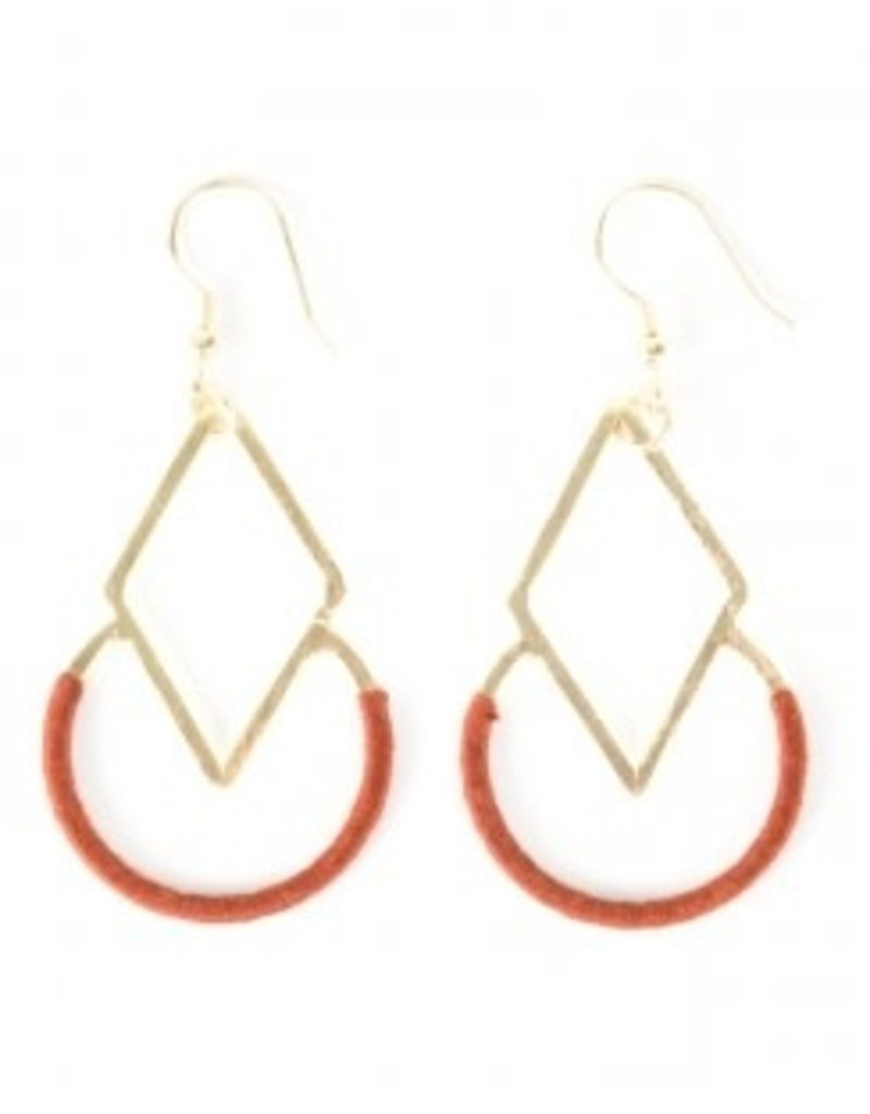 Mata Traders Graphic Threads Earrings - Rose