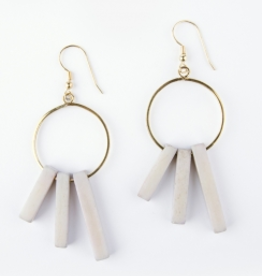 Mata Traders Hoop Block Earrings - Grey