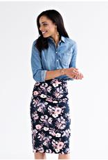 Midi Pencil Skirt - Watercolor Floral