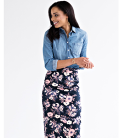 Midi Pencil Skirt - Watercolor Floral