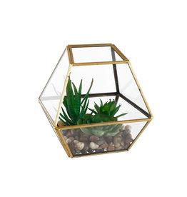 Flora Bunda Geometric Gold Glass with Faux Succulents