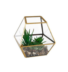 Geometric Gold Glass with Faux Succulents