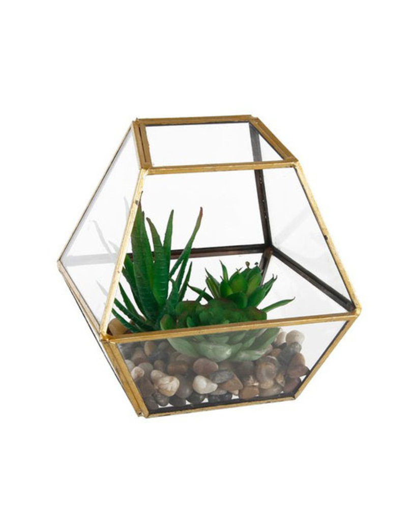 Flora Bunda Geometric Gold Glass with Faux Succulents