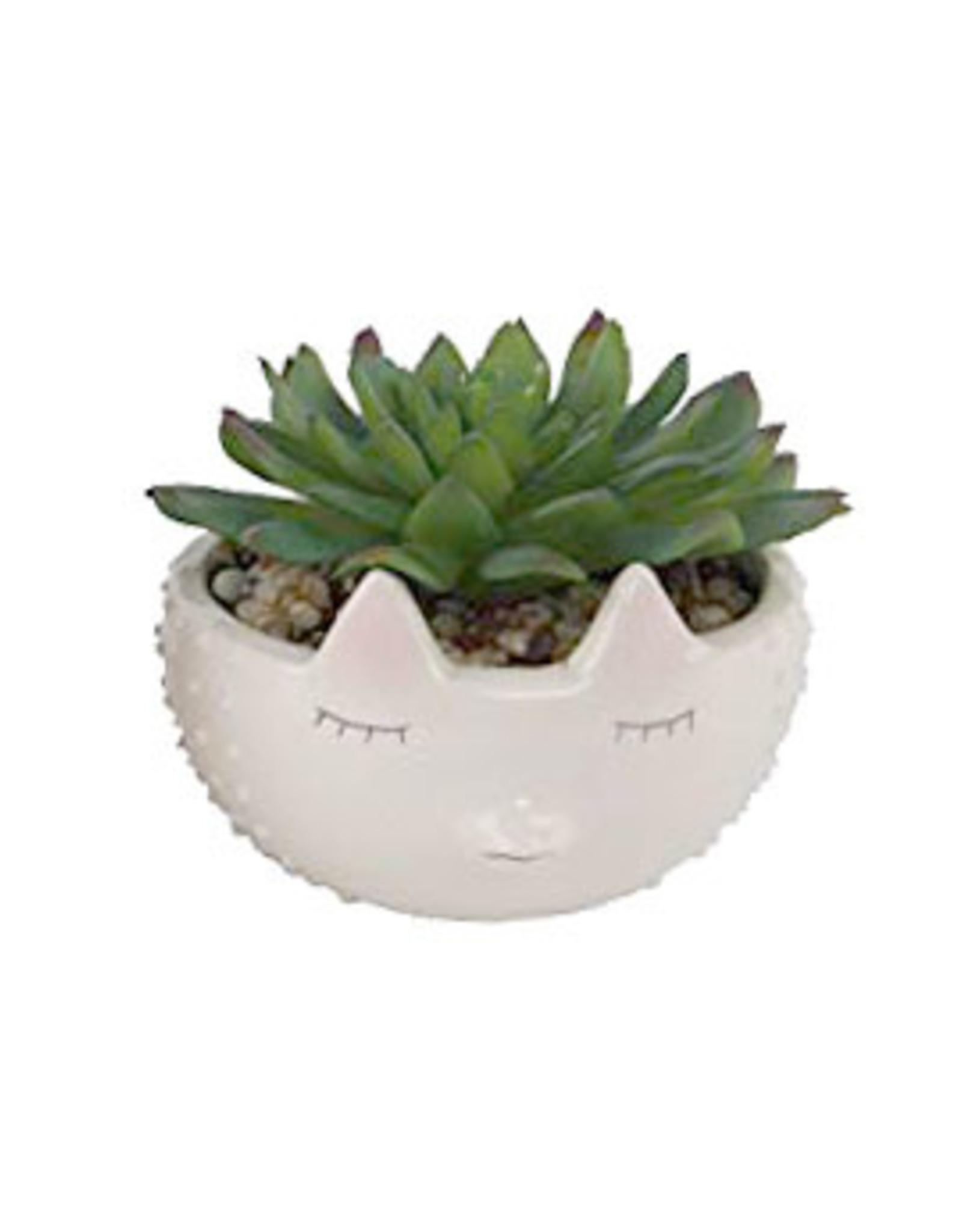 Faux Succulent in Hedgehog Ceramic Planter
