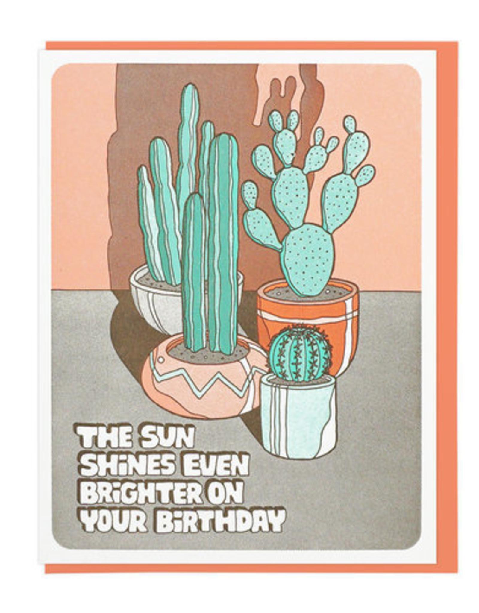 The Sun Shines... Cacti Birthday Greeting Card