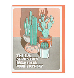 Lucky Horse Press The Sun Shines... Cacti Birthday Greeting Card