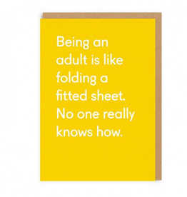 Ohh Deer Being an Adult is Like Folding a Fitted Sheet Greeting Card
