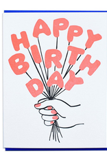 And Here We Are Happy Birthday Balloon Bouquet Greeting Card