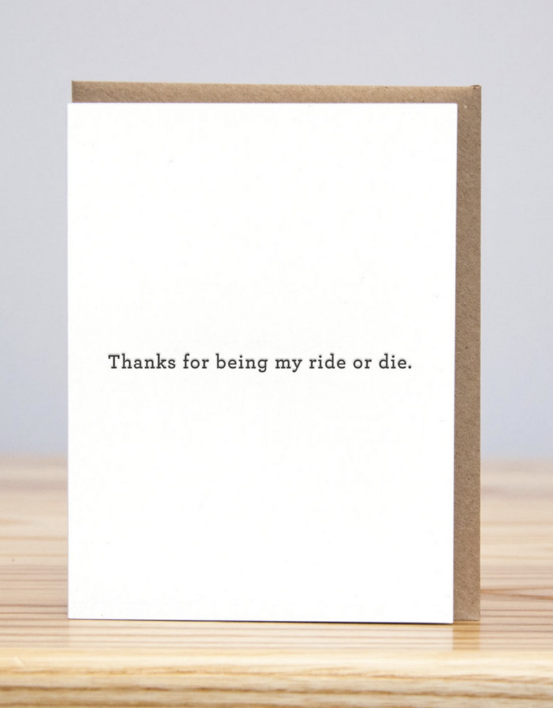 Huckleberry Letterpress Ride or Die Thank You Greeting Card