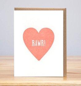 Huckleberry Letterpress Rawr Heart Greeting Card