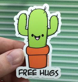 Andreakdoodles Free Hugs Cactus Vinyl Sticker