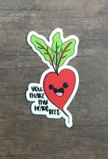 Andreakdoodles Heart Beet Vinyl Sticker