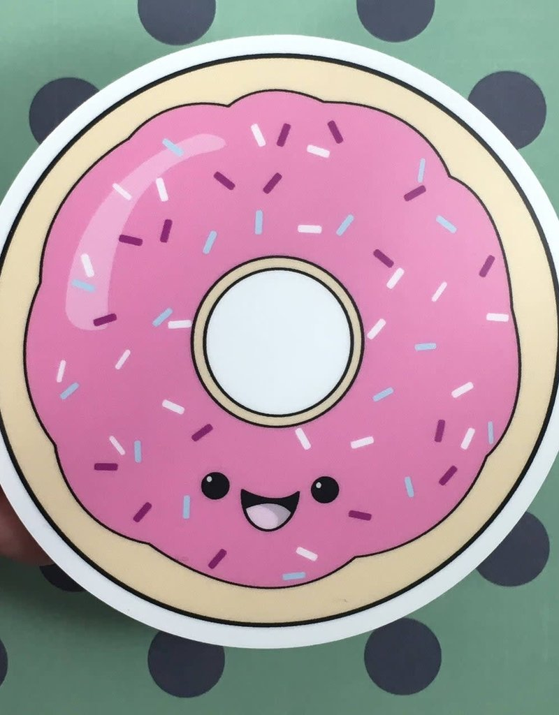 Andreakdoodles Donut (Pink Frosting) Vinyl Sticker