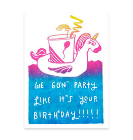 Foreignspell Party Like It's Your Birthday Unicorn Greeting Card