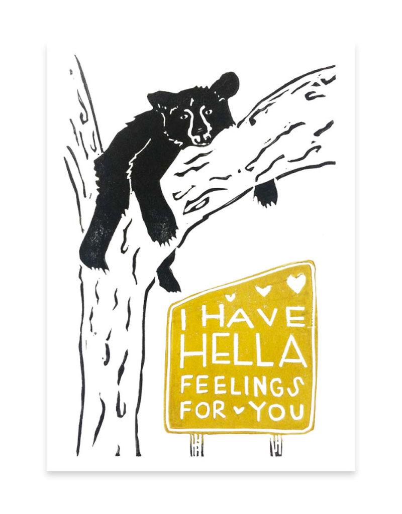 Foreignspell Hella Feelings Bear Greeting Card