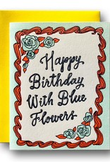 Happy Birthday with Blue Flowers Greeting Card