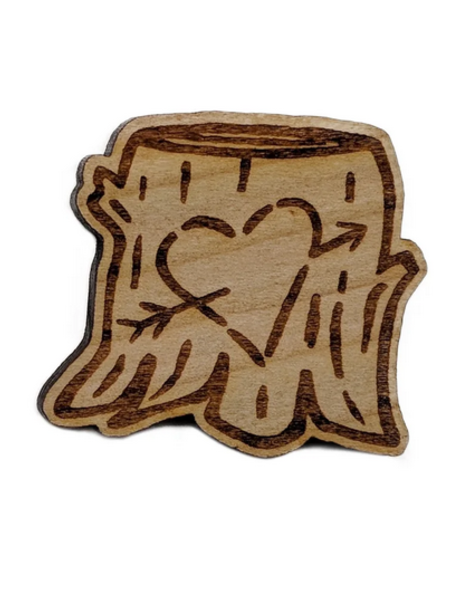 Carved Heart Stump Enamel Pin